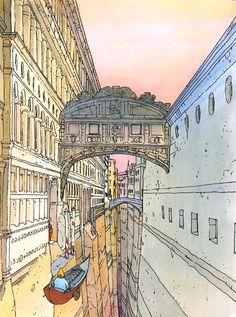 Ponte Dei Sospiri - by Jean Giraud/ Moebius Jean Giraud, Landscape Illustration, Illustration Art, Landscape Art, Venice Tours, Naples, Nogent Sur Marne, Moebius Art, Rome