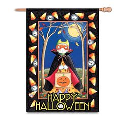 """""""Happy Halloween"""" Flag. Mary Engelbreit's charming, nostalgic style showcased on vividly recreated trick-or-treat image. Durable, waterproof fabric for indoor or outdoor display.  From The Bradford Exchange."""