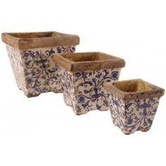 Pots carrés en céramique bleue (Set de 3)