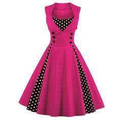 New 2017 Summer Women Dress Retro Dress Polka Dots Pinup Rockabilly Sexy Party Dresses Vintage Tunic Vestidos Mujer Vestidos Vintage Retro, Vintage Prom, Retro Vintage Dresses, Retro Dress, Vintage Outfits, Polka Dot Prom Dresses, Red Polka Dot Dress, Polka Dots, Dress Red