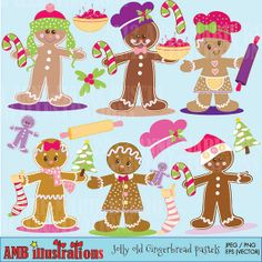 Cutest little gingerbread clipart for Christmas around!   Decorate your invitations, cards and do any kind of crafts with these little cliparts. #Anne-Marie Buscio #AMBillustrations #Christmas clipart #Gingerbread Clipart