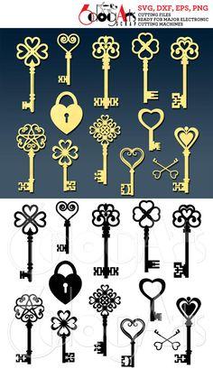 Compass Tattoo, Jewelry Design Drawing, Key Tattoos, Old Keys, Vinyl Paper, Cutting Files, Die Cutting, Wall Signs, Vinyl Decals