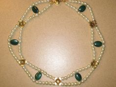 White Pearls,Malachite,Gold Flowers 1