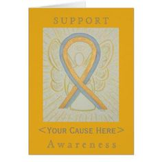 Gray and Gold Awareness Ribbon Childhood Brain Cancer Customized Greeting Cards