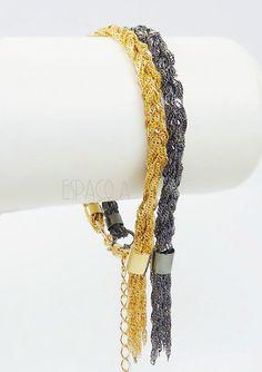 Pulseira de Franjas ouro e ródio negro