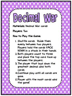 by Amanda Holland Gregory 3rd - 5th Grade Math game to teach and reinforce the concept of decimals to the tenths. Students pl...