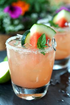 The Firecracker - Watermelon, Lime and Cucumber Cocktail with Cucumber Vodka, Seedless Watermelon, Lime, Simple Syrup, Lime, Watermelon, Cucumber, Mint Sprigs.