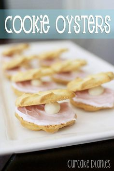 Cookie Oysters - These are so easy to make and a perfect treat for a summer party, beach or ocean themed party, or a baby shower! | cupcakediariesblog.com