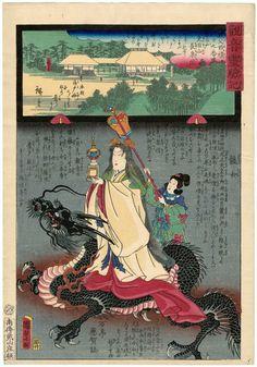Utagawa Kunisada II: Chôsei-in on Mount Kenmoku in Sasanoto, No. 29 of the Chichibu Pilgrimage Route (Chichibu junrei nijûkyûban Sasanoto Kenmokuzan Chôsei-in), from the series Miracles of Kannon (Kannon reigenki)