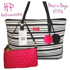 "Betsey Johnson Stripe All that Jazz 2/1 Tote Large tote with zippered and slot pockets.  Detachable pink wristlet with black trim and gold chain is 9""x6"".  Fuschia and black Pom poms.  Tote measures 11.5"" H, 16"" W, 6""D. Betsey Johnson Bags Totes"