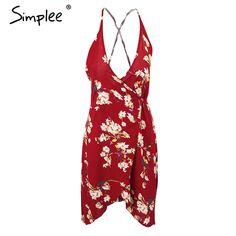 Simplee Summer style boho floral print beach dress Women sexy v neck high waist red dress party backless vestidos