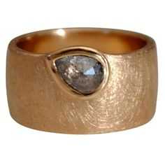 Black Rose Cut Pear Diamond and Rose Gold Ring 1