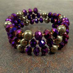Statement Bracelet Purple Gold Beaded Wrap Bracelet by Pilboxx