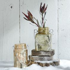 Mercury Glass Vintage Jar Lanterns | west elm $14.00 #lanterns