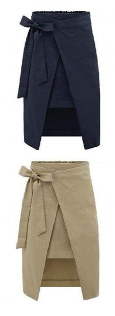 Cross between fishermen's pants and a wrap around skirt. Like the tie at the side, not the middle.maybe hidden pockets inside the wrap? Have to be careful not to ruin the strong simple lines. Diy Fashion, Fashion Outfits, Womens Fashion, Fashion Trends, Fashion Ideas, Fashion Goth, Steampunk Fashion, Dress Fashion, Wrap Around Skirt