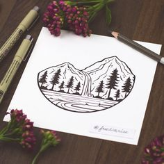 Artwork for the Adventure Enamel Pin Inch - Designed by Becca Stevens Sharpie Drawings, Sharpie Art, Easy Drawings, Sharpies, Incredible Tattoos, Amazing Art, Illustration, Sleeve Tattoos, Arm Tattoos