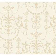 York Wallcoverings Riverside Park Bead Ornamental x Damask Wallpaper Color: Parchment White Grey Pattern Wallpaper, Damask Wallpaper, Striped Wallpaper, Gold Home Accessories, Wallpaper Stores, Riverside Park, Crystals In The Home, Grey Home Decor, Gold Pattern