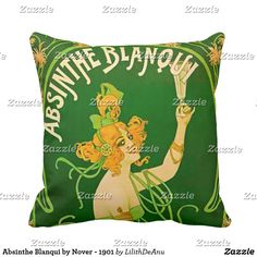 Absinthe Blanqui by Nover - 1901 Throw Pillow