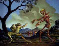 """""""Frog protecting its offspring from fire skeleton (Artwork by James William Woodring)"""" Art History Memes, Classical Art Memes, Talk To The Hand, Surrealism Painting, Beautiful Fantasy Art, Comic Panels, Sketch Inspiration, Meet The Artist, Art Music"""
