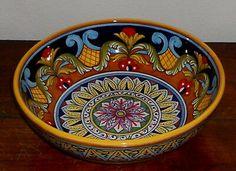 Ceramic Bowls, Ceramic Pottery, Ceramic Art, Panda Bowl, Mexican Pattern, Italian Pottery, Blue Pottery, Geometric Art, Clay Art
