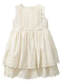 Baby Gap 2014 Tiered Eyelet Dress in Ivory Frost Little Girl Fashion, Toddler Fashion, Kids Fashion, Toddler Dress, Baby Dress, Toddler Girls, Little Girl Dresses, Girls Dresses, Moda Kids
