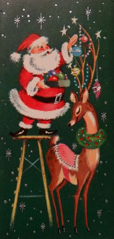 Mid Century Glittered Santa-Reindeer-Vintage Christmas Card-Greeting