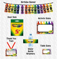 Crayola Birthday package Craft Birthday Party package Art Birthday Party kids party crayon birthday Paint Birthday (DIY) Printable File