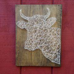 Vache chaîne Art - ferme - cuisine signe - vache signe - lait signe - Animal - Farmer - Grange - vache Silhouette - vache en bois - panneau en bois - rustique
