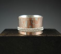 Spinner+ring+Sterling+silver+and+copper+mokume+gane+by+slathered,+$90.00