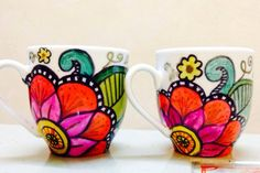 1604976 10202415361002005 90199164 N by on DeviantArt Painted Mugs, Painted Plates, Hand Painted Ceramics, Flower Pot Art, Flower Pot Design, Painted Plant Pots, Painted Flower Pots, Pottery Painting Designs, Diy Mugs