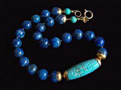 Lapis Lazuli Turquoise Ball Necklace Tribal by pinkowljewelry Owl Jewelry, Ethnic Jewelry, Bohemian Jewelry, Jewelry Crafts, Beaded Jewelry, Beaded Necklace, Jewelry Design, Beaded Bracelets, Jewellery