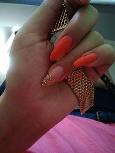 #orange #gold #nails