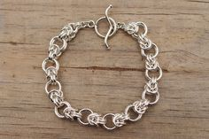 Chain Maille Jewelry byzantium variation works well in 2 tone (large circles a different color)