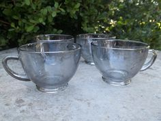 Vintage Smoky Clear Teacups Set of 4 by TheHoneysuckleTree on Etsy