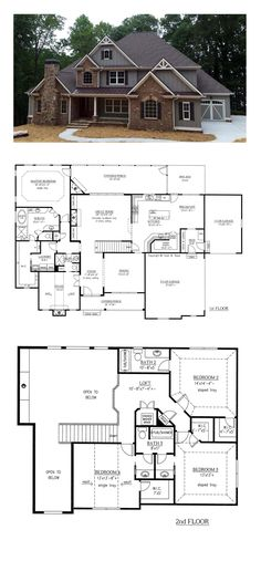 Nice floor plan, maybe close up family room 2 story ceiling and make upper family room or extra bedroom upstairs- French Country House Plan 50263 Dream House Plans, My Dream Home, Dream Houses, Big Houses, 5 Bedroom House Plans, Dream House Design, House Design Plans, Open Floor House Plans, Future House