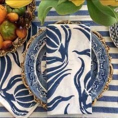 Madeline's Blue Chelsea Blockprint Napkin via Audreymargarite.