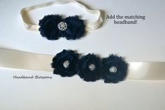 Flower Girl Bridesmaid Navy Blue Chiffon by HeadbandBlossoms