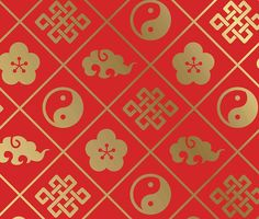 Feng shui pattern, good luck symbols, asian,tao,ultimate happiness, gold,red