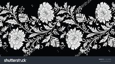 Seamless black and white flower border Embroidery On Kurtis, Kurti Embroidery Design, Embroidery Software, Embroidery Art, Embroidery Stitches, Small Flowers, White Flowers, Paisley Stencil, Drawing Stencils