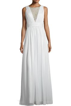 aidan Mattox Sleeveless Deep-V Beaded-Insert Gown Silver White