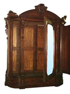 Huge 19th C. American Walnut & Burl Armoire w/Large Beveled Mirror.