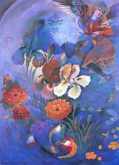 Gol o Morgh - Category: Gol o Morgh - Image: o Morgh Watercolor Flowers, Painting Flowers, Watercolour, Iranian Art, Flower Bird, Persian, Miniatures, Birds, Nightingale