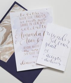 gold hand lettered wedding stationery with deep purple and marbled accents | One & Only Custom Stationery