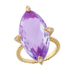 9ct Yellow Gold 17.00ct Pineapple Faceted Amethyst & Diamond Ring. Available at: http://www.gemondo.com/p-19563-9ct-yellow-gold-1700ct-pineapple-faceted-amethyst-diamond-ring.aspx