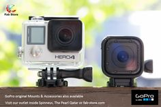 HERO4 Silver boasts even better image quality than any of the best-selling GoPro cameras that came before it. It features built-in Wi-Fi and Bluetooth, allowing you to connect to the GoPro App for mobile and Smart Remote. All GoPro camera and mounts are now available in Fabstore outlet at Spinneys the perl Qatar-Madinat Centrale and buy online on www.fab-store.com