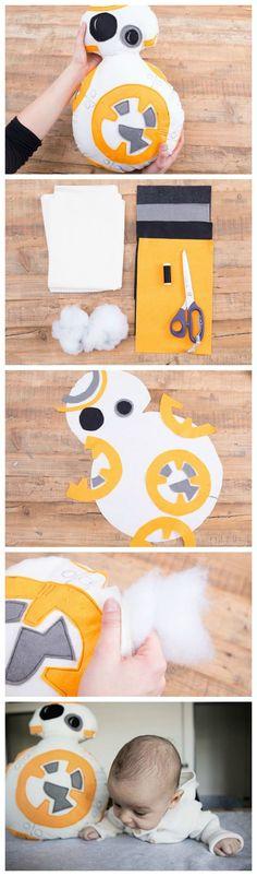 Kostenlose Nähanleitung: Star Wars Droide BB-8 Kissen nähen / free star wars sewing diy: how to sew a droide BB-8 cushion via http://DaWanda.com
