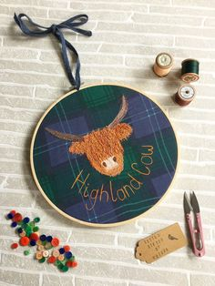 Hey, I found this really awesome Etsy listing at https://www.etsy.com/listing/250674271/highland-cow-art-10-inch-hoop-embroidery