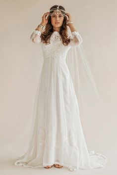 Rue de Seine 2015 Beaded long sleeve gown