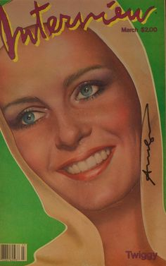 """""""Interview"""" cover, signed by Andy Warhol, representing Twiggy http://www.pisacanearte.it/index.php/artisti/w/andy-warhol/andy-warhol-interview/andy-warhol-142.html"""