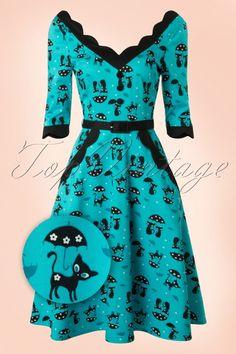 Vixen 50s Jade Cat Swing Dress in Blue